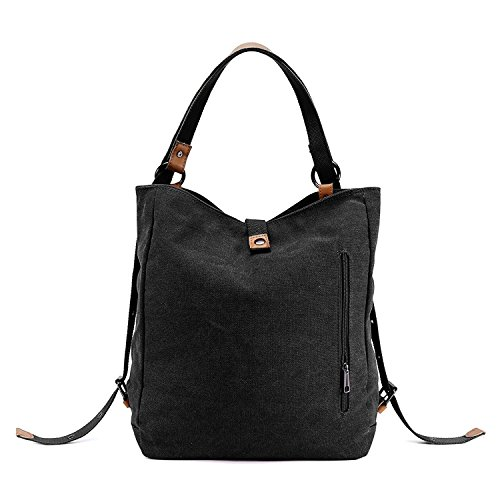 Shoulder Messenger Daypack Casual Unisex Black Handbag Hobo Travel Bag Bag Tote Backpack Capacity Canvas Large pwqqB5xCvn