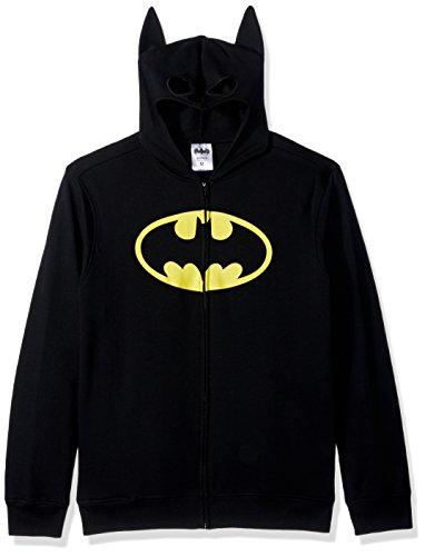 Batman Men's Character Zip Front Hoodie, Black, Large -