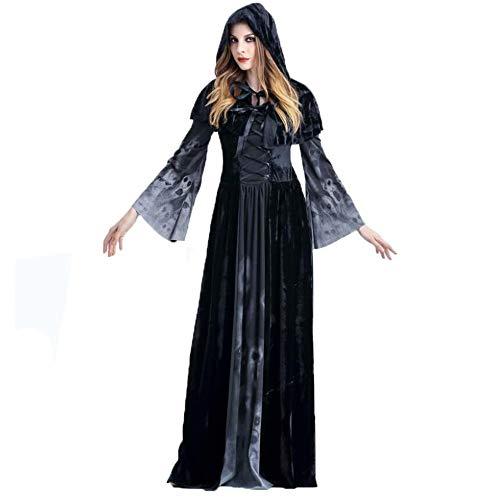 ERANLEE Halloween Witch Vampire Costume Skeleton Black Long Dress for Women M for $<!--$29.98-->