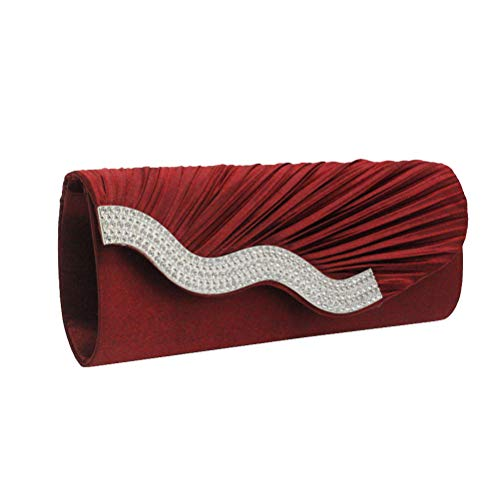 Fashion Rhinestone Pleated Evening Bag Satin Handbag Clutch Bag for Women Dark RedCool Summer Beach Accessery Ideal Friends Birthday Gift