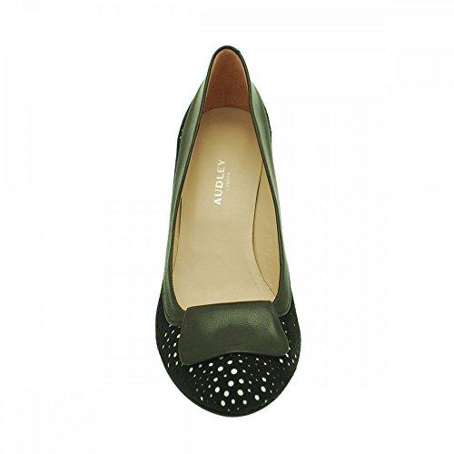 Audley Womens Laser Cut Low Heel Court Shoe Black