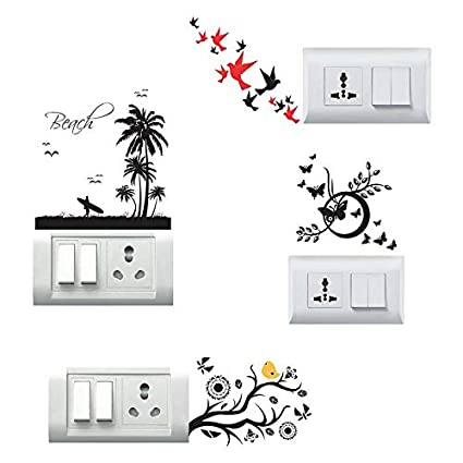 Impression Wall Decor Beach Butterflies Birds Flying Switchboard Sticker Vinyl Multicolour 12x12cm Set Of 4