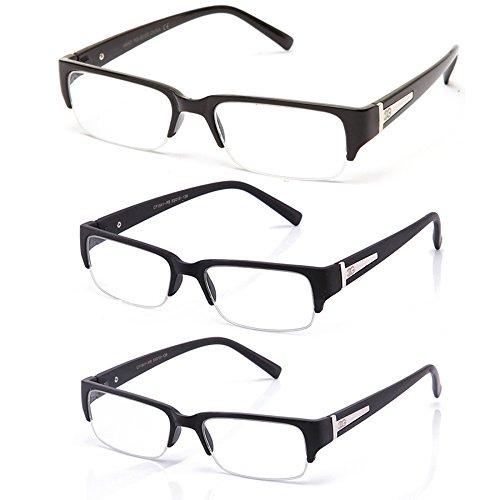 "Newbee Fashion - ""Aliz"" Unisex Clear Lens Sleek Half Frame Slim Temple Fashion Glasses"