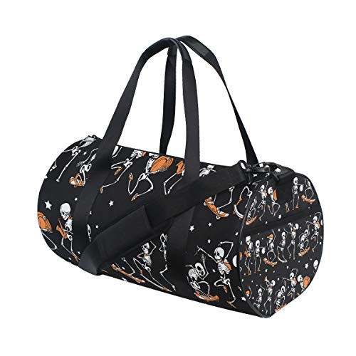 YCHY Black Orange Dancing and Skateboarding Skeletons Haloween Repeat Pattern Background Barrel Duffel Bag Sports Yoga Gym Fitness Bag Travel Weekender Bags for Men and -