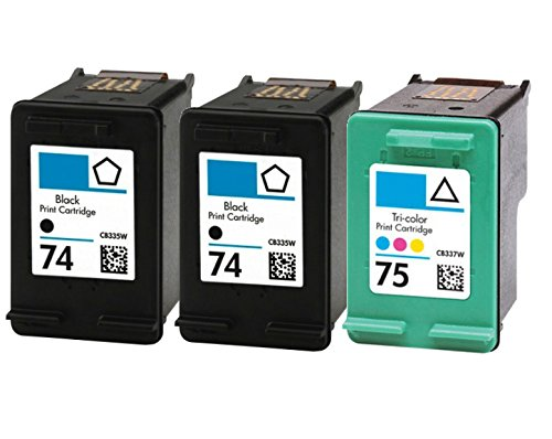 HouseOfToners Remanufactured Ink Cartridge Replacement for HP 74 & 75 (2 Black & 1 Color, 3-Pack)