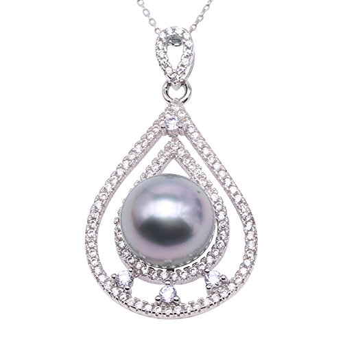 JYX Pearl Tear Drop Pendant AAA Quality 11mm Gray Round Tahitian Cultured Pearl Pendant Necklace