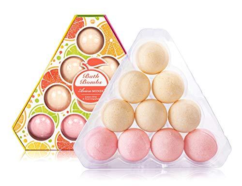 Bath Bombs Gift Set, Lemon & Grapefruit Bath Fizzers Best Gift for Men, Mother, Wife, Women, Her, SPA Bomb Fizzy Set for…