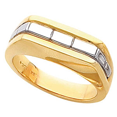 (Two Tone Men's Wedding Band Ring Mounting in 14k White and Yellow Gold ( Size 10 ))