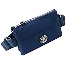 liangdongshop High Capacity Multi-pockets Sports Waist Fanny Pack Crossbody Chest Bag Travel Purse(Pattern1-Dark Blue)