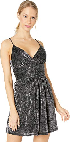 Waist Banded Dress - BCBGeneration Women's Shirred Banded Waist Dress, Metallic Black 4