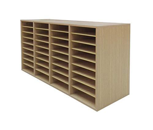 36 Compartment Mail Sorter - FixtureDisplays Wood Adjustable Literature Organizer, 36 Compartment Mailslot Organizer, Removable Shelves, Stackable 18818-OAK