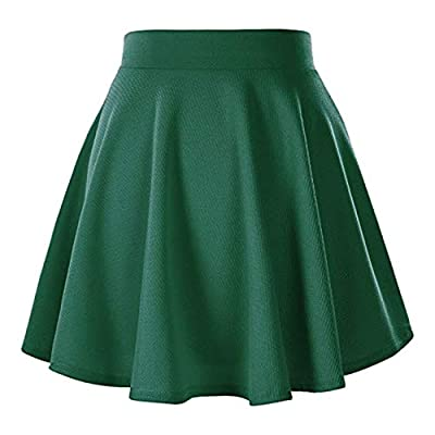 Naokenu Women Basic Flared Skater Mini Skirt High Waist Stretchy Casual Skirt
