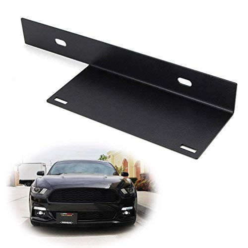 iJDMTOY No-Drill Front License Plate Relocator Bracket for 2015-2017 Ford Mustang
