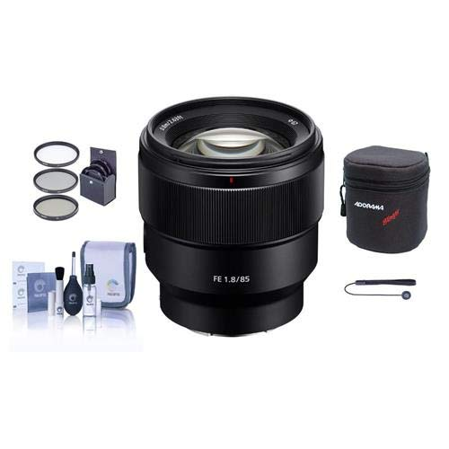 Price comparison product image Sony FE 85mm F1.8 E-Mount NEX Camera Lens - Bundle with 67mm Filter Kit,  Lens Case,  Cleaning Kit,  Capleash II