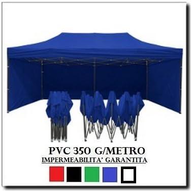 4 Teli Laterali PVC 350 g Metro RAY BOT Gazebo Pieghevole 3X3 Blu Acciaio