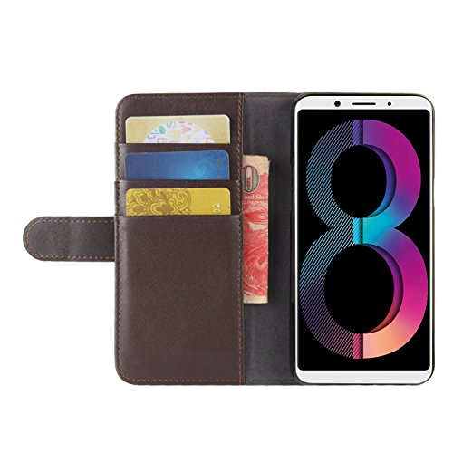 ID Flip Card Handmade Protective Wallet Genuine for Brown Brown Leather Case A83 HualuBro A83 Cover Phone OPPO Case Credit Genuine with Slots OPPO nZz0Oq
