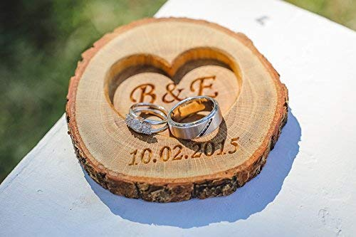 9f5f2ebcaa Image Unavailable. Image not available for. Color: Personalized Rustic Wood  Ring Holder - Rustic Wedding Ring Bearer Pillow - Oak Tree Ring Box