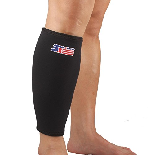 Vitoki Calf Sleeve Compression Shin Splint Support Calf Brace for Running, Training, Travel, Cycling, Hiking, Relieves Lower Leg Pain, Best for Recovery, Breathable Neoprene, Black, 1 Piece