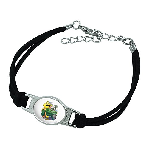 Graphics and More Alligator Gator Crossing Sunglasses Vacation Novelty Suede Leather Metal Bracelet - Black