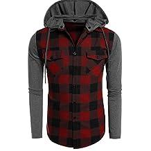 POGT Men Casual Long Sleeve Plaid Patchwork Pullover Hoodie Jacket Hooded Sweatshirts