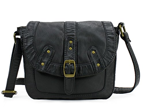 Buddha Handbag Black (Scarleton Soft Washed Studded Belt Accent Crossbody Bag H182101 - Black)