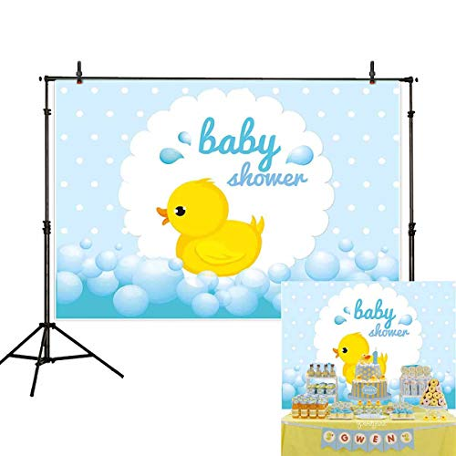 Allenjoy 7x5ft Little Yellow Duck Baby Shower Photography Backdrop Child Bubble Background for Party Photo Studio Prop ()