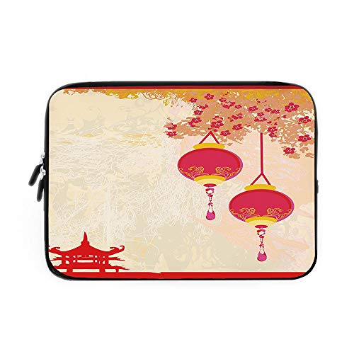 Lantern Laptop Sleeve Bag,Neoprene Sleeve Case/Japanese Inspired Celebration Image with Lovely Colors Old Paper Theme Decorative/for Apple MacBook Air Samsung Google Acer HP DELL Lenovo AsusH