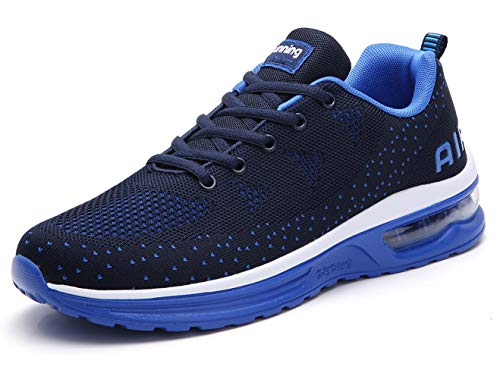 TSIODFO Men air Cushion Sport Trail Running Shoes for 2019 Summer Flyknit Fashion Sneakers Breathable Comfort Youth Boys Tennis Shoes Gym Workout Athletic Walking Shoe Blue Size 10 (835-blue-44)