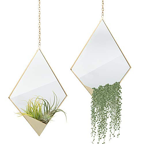 Set of 2 Bohemian Wall Mirror Decor, Boho Chic Gold Mirror with -