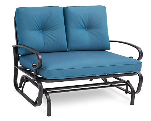 SOLAURA Patio Outdoor Furniture Loveseat Glider Wrought Iron Frame Peacock Blue Cushions Bench Sofa