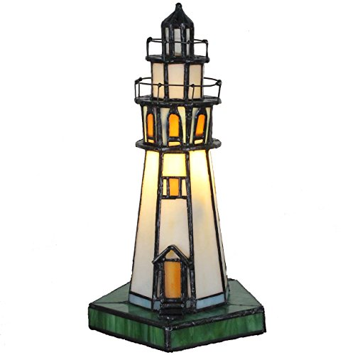 Bieye L10221 10-inches Lighthouse Tiffany Style Stained Glass Accent Table Lamp, Night Light