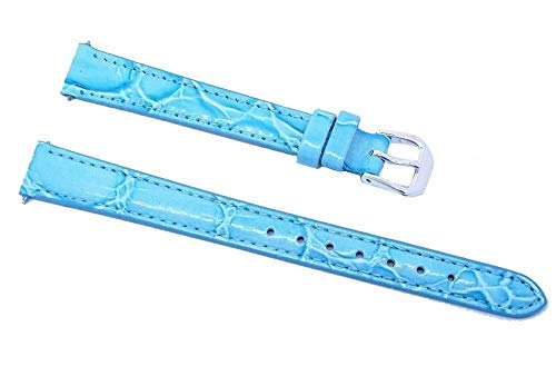 Gorgeous 12mm Long Blue Stitched Padded Croco Grain Genuine Leather Band