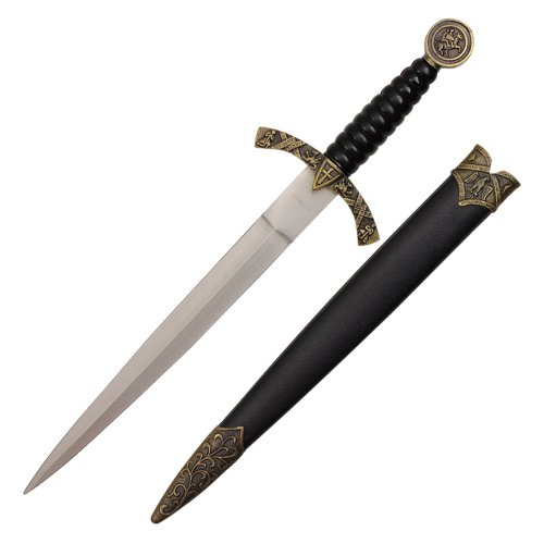 [14 inch medieval designed dagger with knight and horse on handle and black scabbard with dusty gold finish] (Costumes By Dusty)