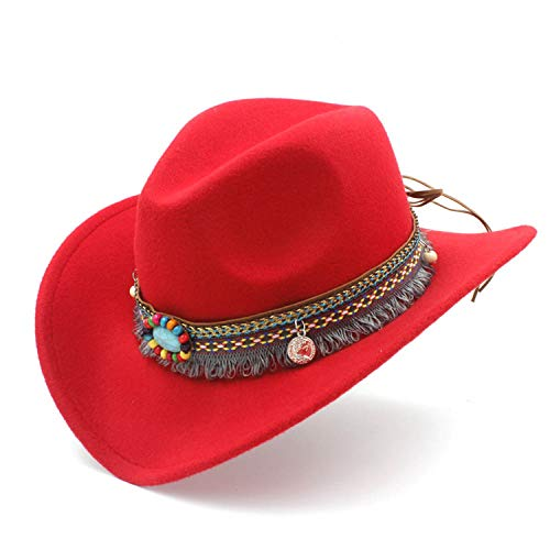 HiiWorld Child Wool Hollow Western Cowboy Hat with Fashion Tassel Belt for Kids Girl Jazz Cowgirl Sombrero Cap Red