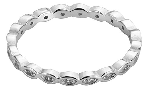 Cubic Zirconia Stackable Endless Eternity Ring Sterling Silver (Color Options, Sizes 3-15) Photo #3