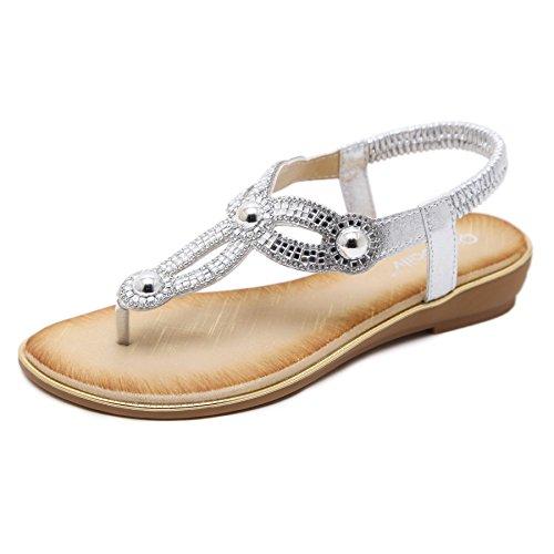 Meeshine Womens Summer Thong Flat Sandals T-Strap Bohemian Rhinestone Slip On Flip Flops Shoes Silver-02 US (Elegant Flip Flops)