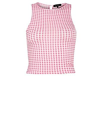 679711699e47 Femmes carreaux vichy rose sans manches Crop Top  Amazon.fr ...