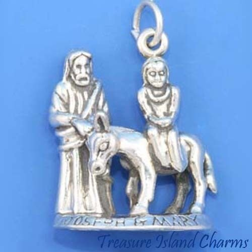 OutletBestSelling Beads Bracelet Joseph and Mary ON Donkey Heavy 3D Solid Sterling Silver Charm