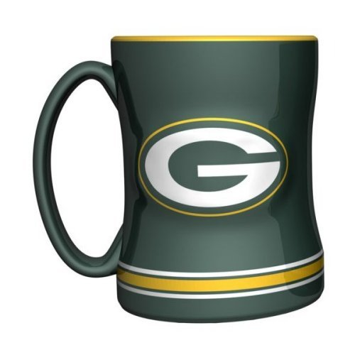 Green 14 Oz Mug - 2015 NFL Football Coffee Mug - 14 ounce Ceramic Coffee Cup (Packers)
