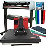 USCutter Bundle: 34'' SC2 Vinyl Cutter + 15x15 Heat Press Machine Htv Sign Vinyl