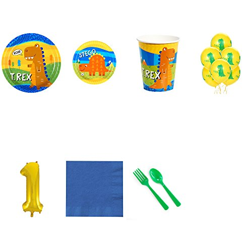 T-Rex Dinosaur 1st Birthday Supplies Party Pack for 24