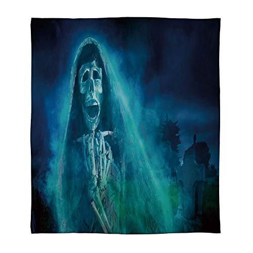 YOLIYANA Lightweight Blanket,Halloween Decorations,for Bed Couch Chair Fall Winter Spring Living Room,Size Throw/Twin/Queen/King,Gothic Dark Backdrop with a Dead Ghost