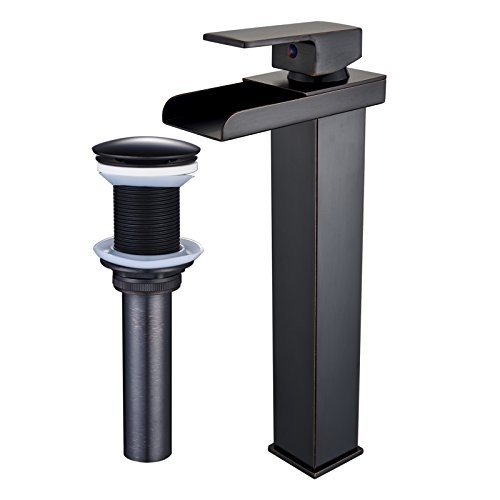 Senlesen Tall Waterfall Spout Bathroom Vessel Sink Faucet Single Lever Countertop Mixer Tap and Pop Up Drain without Overflow Oil Rubbed Bronze