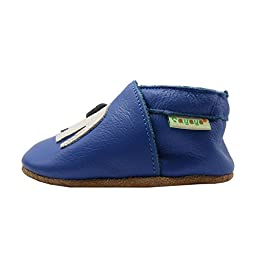 Sayoyo Soft Sole Leather Baby Shoes Baby Moccasins Elephant (Blue ,6-12 months)