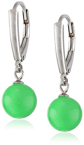Sterling Silver Green Jade Leverback Dangle Earrings Green Jade Dangle