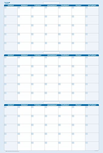 Sky Blue 90-Day / 3-Month Quarterly Vertical Dry/Wet-Erasable Wall Calendar 36 in. x 24 in. - Vertical Wall Calendar