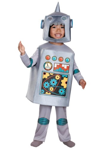 Kids Retro Robot Costumes (Artsy Heartsy Retro Robot Costume, Silver/Red/Blue/Yellow, Large)