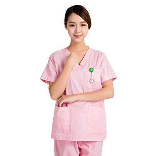 (Women Men V-Neck Nurse Scrub Sets Healthcare Medical Tunic Uniform SPA Workwear Unisex)