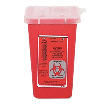 """Impact 7350 Translucent Red Sharps Container, 1 qt Capacity, 4-1/2"""" Length x 4-1/2"""" Width x 6-3/4"""" Height"""