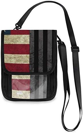 トラベルウォレット ミニ ネックポーチトラベルポーチ ポータブル 黑白 アメリカ 国旗 小さな財布 斜めのパッケージ 首ひも調節可能 ネックポーチ スキミング防止 男女兼用 トラベルポーチ カードケース